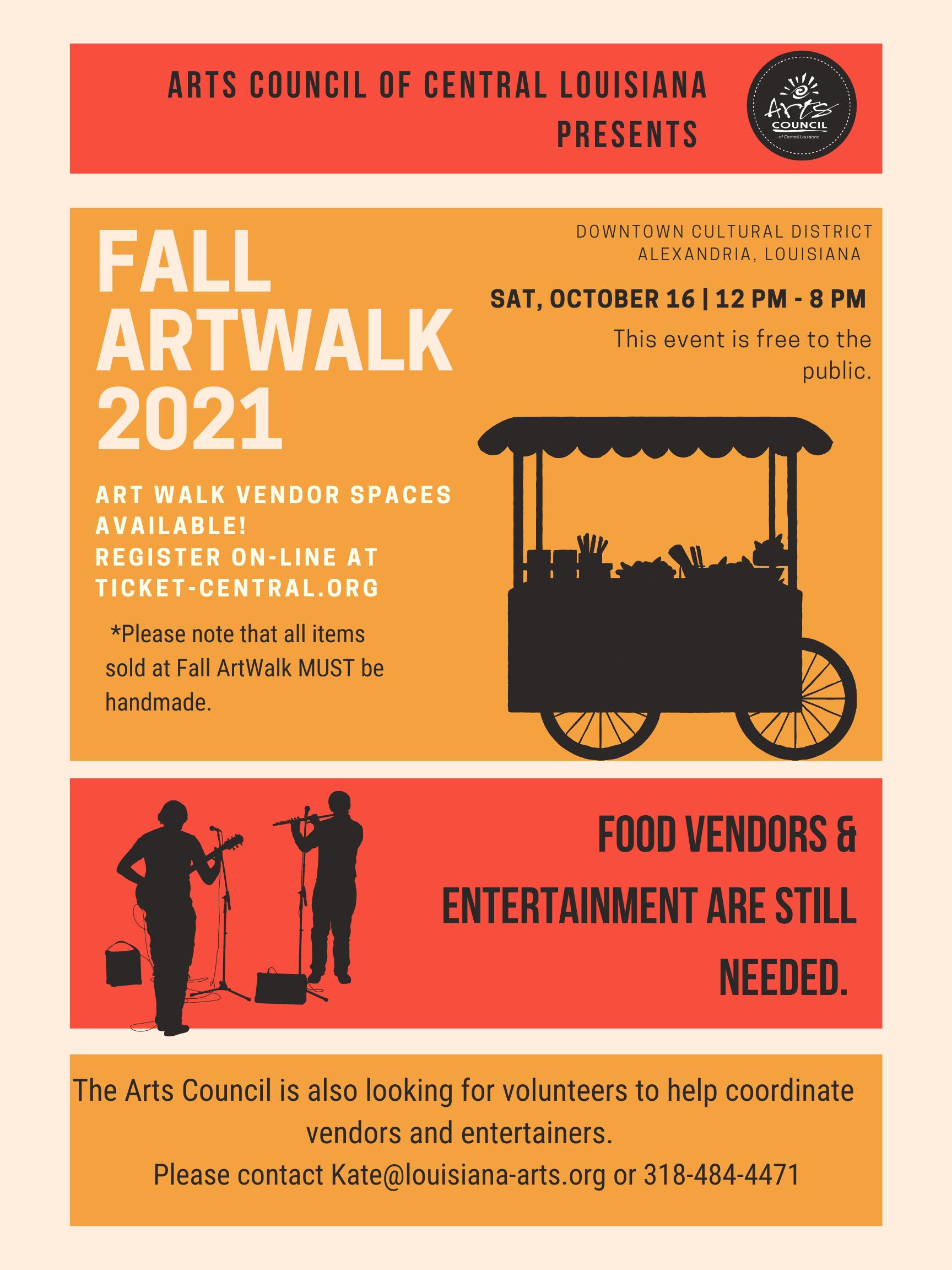 Fall ArtWalk Vendor Announce poster